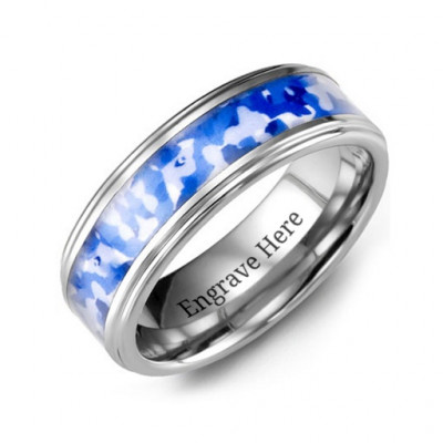 Grooved Tungsten Ring with Royal Blue Camouflage Insert - The Name Jewellery™