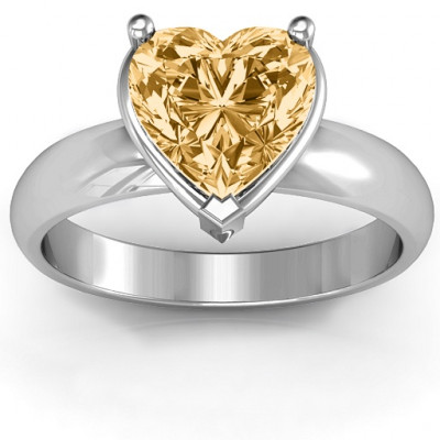 Heart Stone in a Double Gallery Setting Ring - The Name Jewellery™