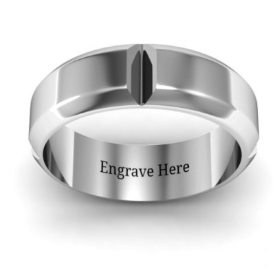 Hercules Quad Bevelled and Grooved Men's Ring - The Name Jewellery™