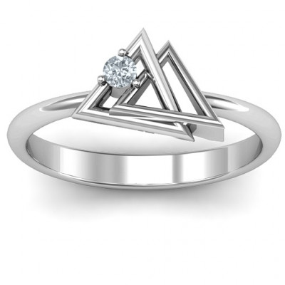Interlocked Triangle Geometric Ring - The Name Jewellery™