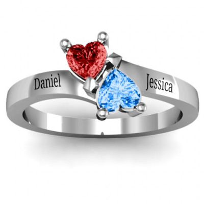 Inverted Twin Heart Ring - The Name Jewellery™