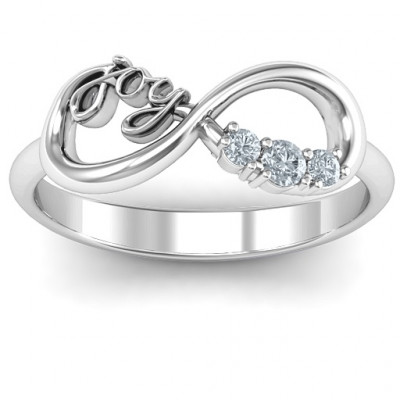 Joy Infinity Ring with 3 Stones - The Name Jewellery™