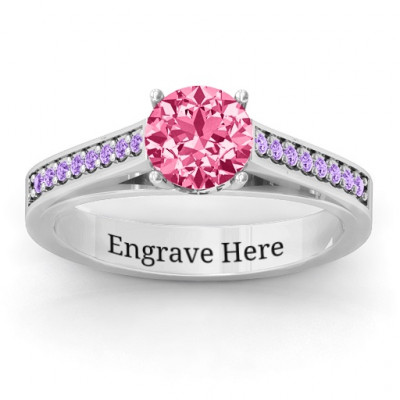Large Round Solitaire Ring with Channel Set Accents - The Name Jewellery™