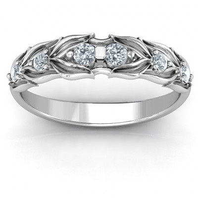 Leaves of Love 6 Stone Ring - The Name Jewellery™