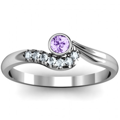 Low Wave Ring with Accents - The Name Jewellery™