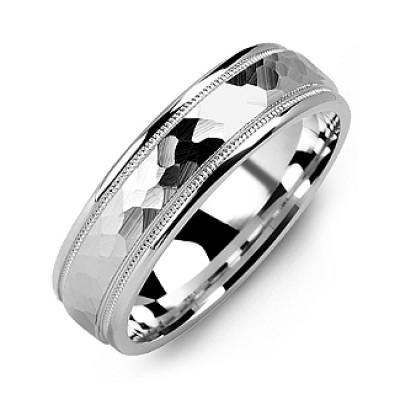Matte Hammer-Cut Men's Ring with Milgrain Detail - The Name Jewellery™