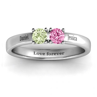 Meet In The Middle Two Stone Ring - The Name Jewellery™
