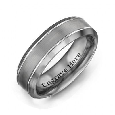 Men's Beveled Edge Brushed Centre Tungsten Ring - The Name Jewellery™
