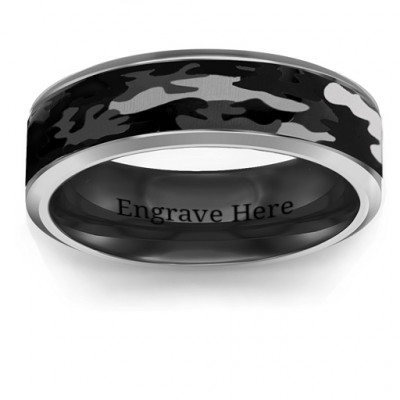 Men's Black Camouflage Tungsten Ring - The Name Jewellery™