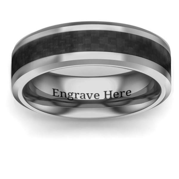 Men's Black Carbon Fiber Inlay Polished Tungsten Ring - The Name Jewellery™