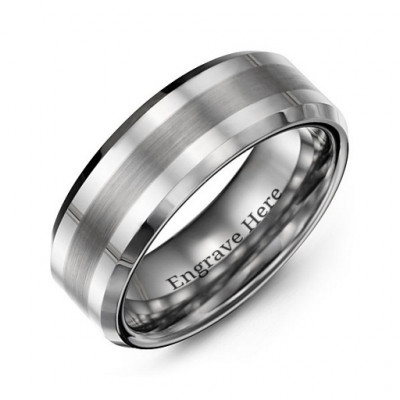 Men's Brushed Centre Stripe Polished Tungsten Ring - The Name Jewellery™