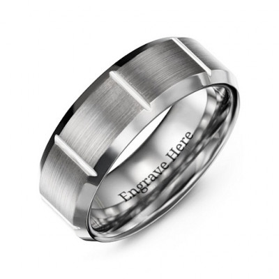 Men's Brushed Vertical Grooved Polished Tungsten Ring - The Name Jewellery™