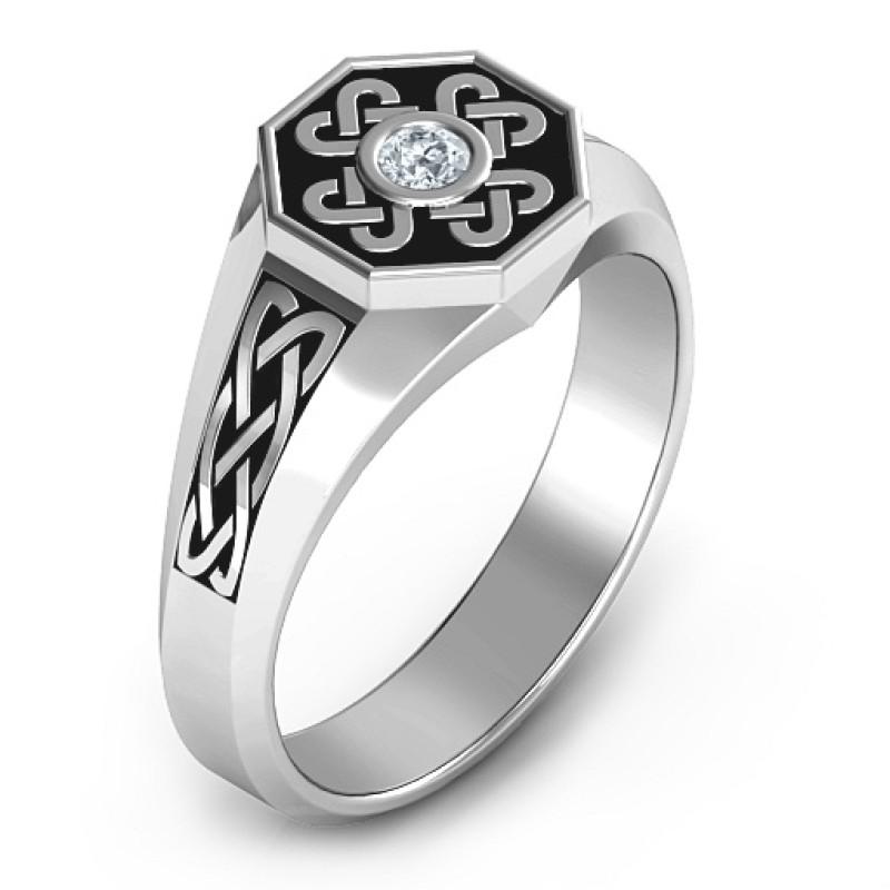 mens celtic knot signet ring