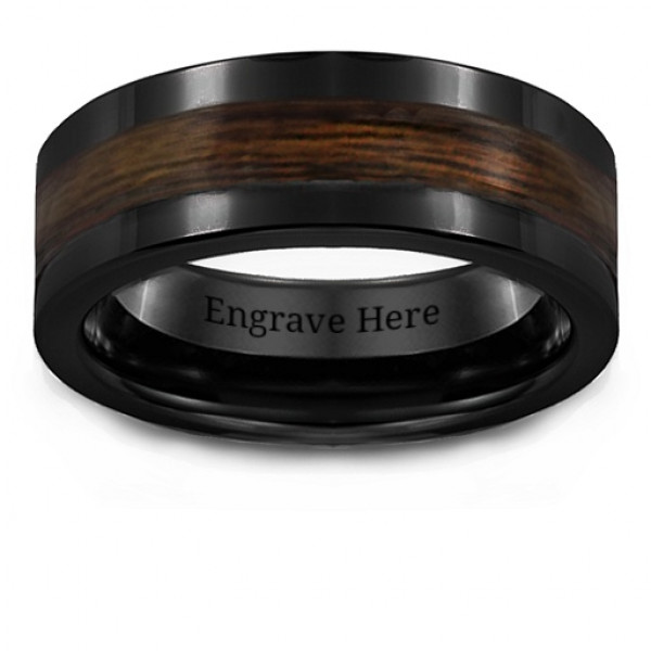 Men's Ceramic Ring With Wooden Inlay - The Name Jewellery™