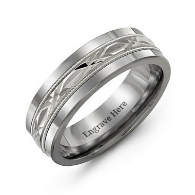 Men's Cut Out XO Centre Tungsten Band Ring - The Name Jewellery™