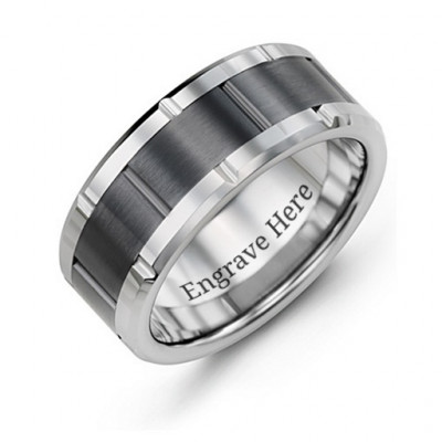 Men's Grooved Bicolour Tungsten Ring - The Name Jewellery™