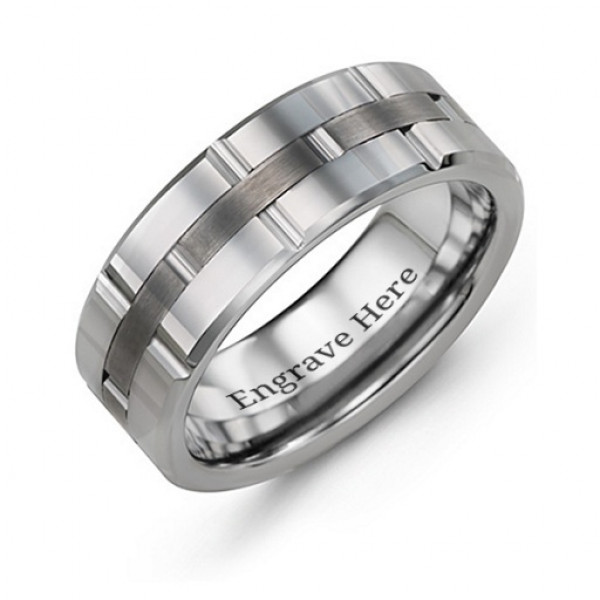 Men's Grooved Layers Tungsten Ring - The Name Jewellery™