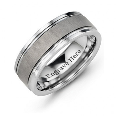 Men's Grooved Tungsten Ring with Brushed Centre - The Name Jewellery™