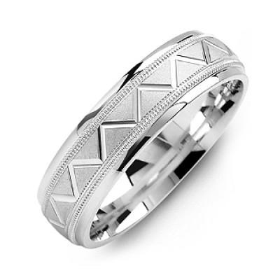 Men's Milgrain Ring with Zig-Zag Pattern - The Name Jewellery™