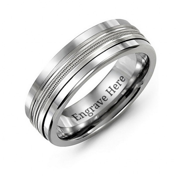 Men's Modern Beaded Centre Tungsten Band Ring - The Name Jewellery™
