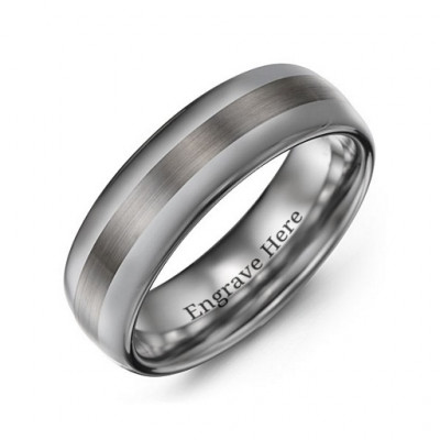 Men's Polished Brushed Centre Tungsten Ring - The Name Jewellery™