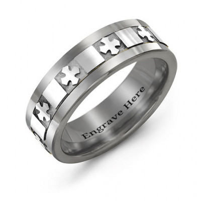 Men's Polished Crosses Tungsten Band Ring - The Name Jewellery™