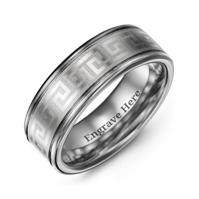 Men's Polished Eternal Greek Key Tungsten Ring - The Name Jewellery™