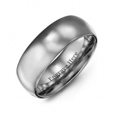 Men's Polished Tungsten Dome 8mm Ring - The Name Jewellery™