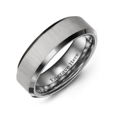 Men's Satin Finish Centre Polished Tungsten Ring - The Name Jewellery™