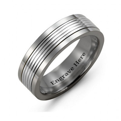 Men's Tungsten Inlay Band Ring - The Name Jewellery™