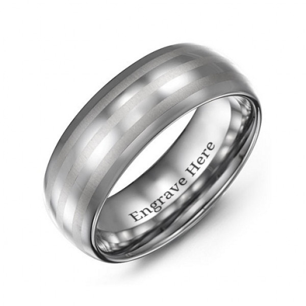 Men's Tungsten Polished Triple Stripe Satin Centre Ring - The Name Jewellery™