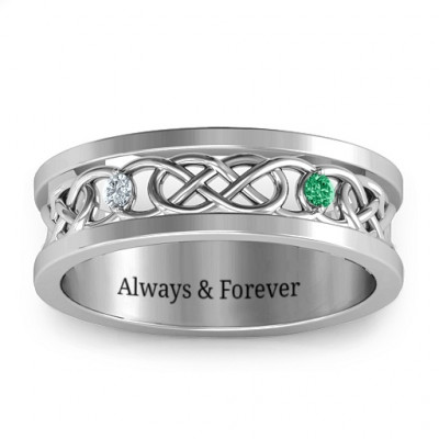 Men's Two-Stone Interwoven Infinity Band - The Name Jewellery™
