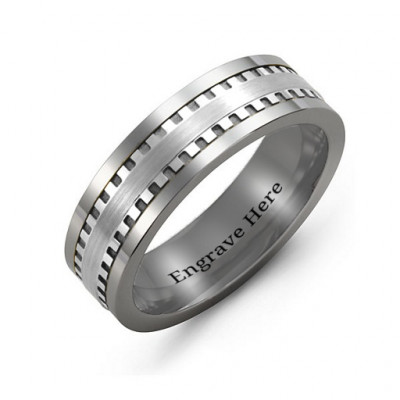 Men's Vertical Grooved Centre Tungsten Band Ring - The Name Jewellery™
