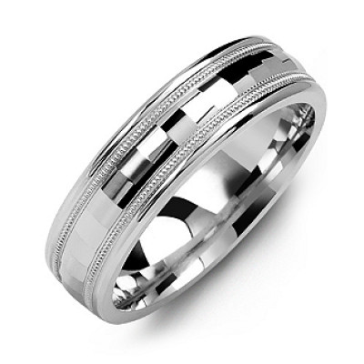 Milgrain Men's Ring with Baguette-Cut Centre - The Name Jewellery™