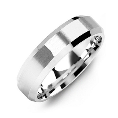 Modern Brushed Men's Ring with Beveled Edges - The Name Jewellery™