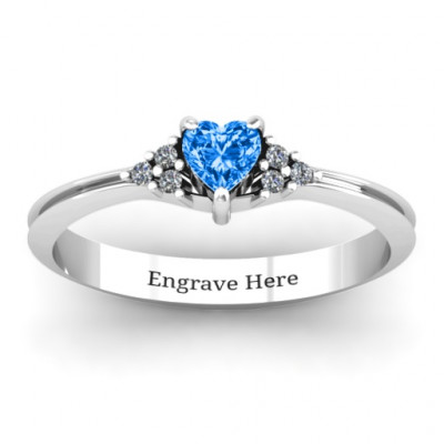 Narrow Heart Ring with Shoulder Accents - The Name Jewellery™