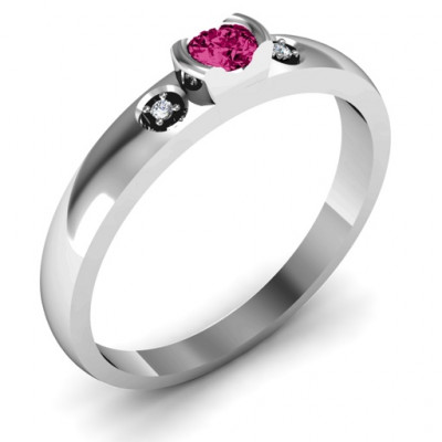 Open Bezel Cut Ring with Accents Stones - The Name Jewellery™