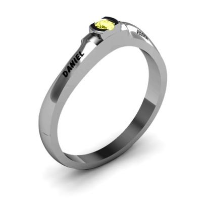 Open Bezel Set Swirl Ring - The Name Jewellery™