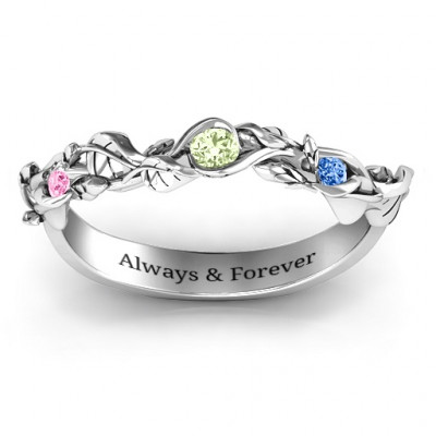Organic Leaf Accented Band - The Name Jewellery™
