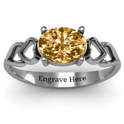 Oval Solitaire Ring with Surrounding Hearts - The Name Jewellery™