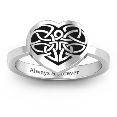 Oxidized Silver Celtic Heart Ring - The Name Jewellery™