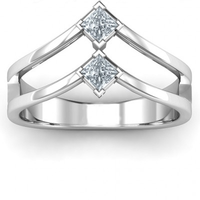 Peaks and Valleys Geometric Ring With Princess Stones - The Name Jewellery™
