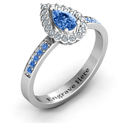 Pear Shaped Halo Ring - The Name Jewellery™