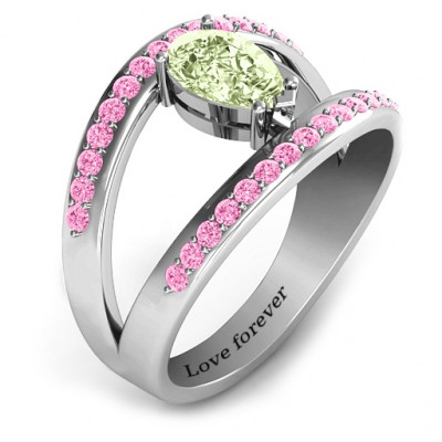 Pear With Flair Ring with Accents - The Name Jewellery™