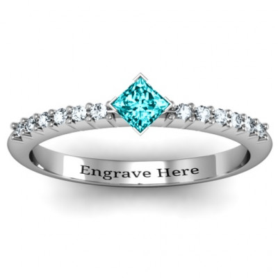 Princess Centre Stone Ring with Twin Accent Rows - The Name Jewellery™