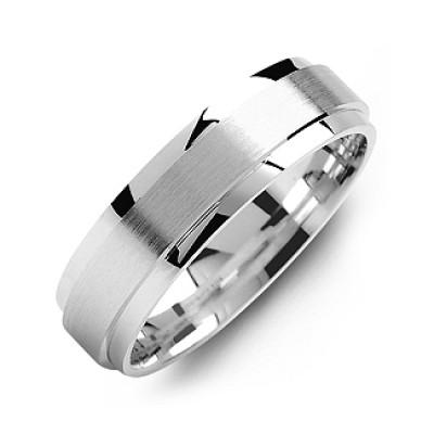 Raised Brush Centre Flat Polished Edges Men's Ring - The Name Jewellery™