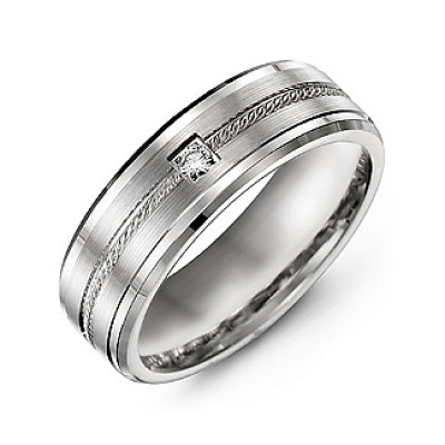 Rope Design Men's Ring with Stone and Beveled Edges - The Name Jewellery™