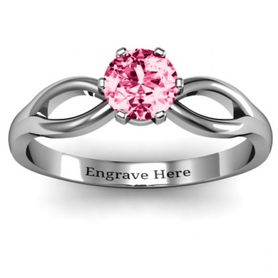 Round Solitaire Figure 8 Shank Ring - The Name Jewellery™