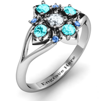 Round Stone  Beehive  Bloom Ring with Acccents - The Name Jewellery™