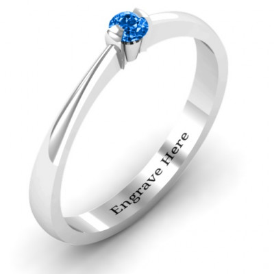 Semi Bezel Set Solitaire Ring - The Name Jewellery™